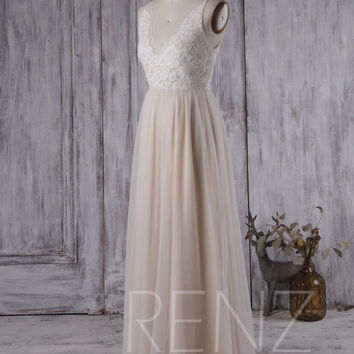2016 Off White/Champagne Bridesmaid Dress, V Neck Lace Wedding Dress, A Line Mesh Prom Dress, Ruched Long Evening Gown Floor Length (LS162)