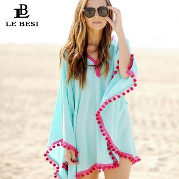 LEBESI 2017 Sexy Cover Ups Lace Solid V-neck Beach Skirt Wrap Solid Blue Cloak Chiffon Blouse Leisure Tunic Gauze Crochet Pareo