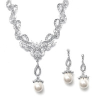 Vintage CZ Pave and Pearl Necklace Earring Set