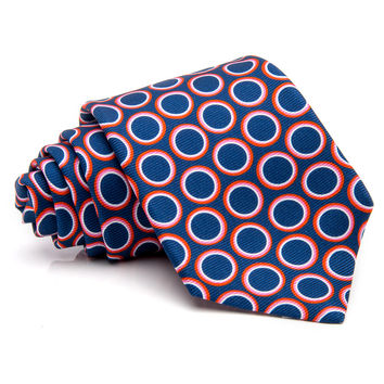 Kiton Blue with Orange Dot Tie