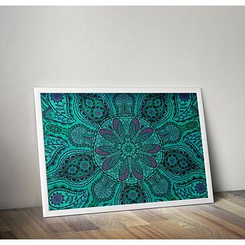 Teal Purple Mandala Poster Bohemian Art Print Poster  Design no frame 20x30 Large