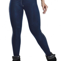 Blue Denim Look Leggings