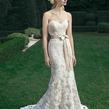 Casablanca Bridal 2221 Strapless Lace Sheath Wedding Dress