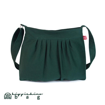 Green  Canvas Bag Purse Pleated Bag Washable Bag, Fully Lined, Zippered Closure, Sling Bag, Medium Size Bag, Weekender, Travel Bag