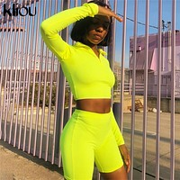 Kliou New Female Fluorescence Fitness Two Pieces Sets 2018 Autumn Full Sleeve Zipper Turtleneck Tops And High Waist Shorts Suits