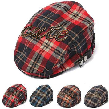 Kids Baby Boy Girl Plaids Beret Cotton Cap Check Newsboy Summer Peaked Sun Hat