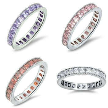Sterling Silver 925 STACKABLE ETERNITY DESIGN CUBIC ZIRCONIA RINGS 3MM SIZE 4-12