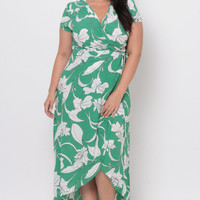 Plus Size Floral Cross Front Wrap Dress