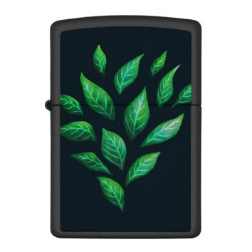 Abstract Ink Drawn Green Leaves Zippo Lighter