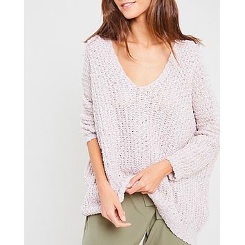 popcorn textured v-neck knit sweater pullover - twig