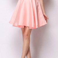 High Waisted Satin Mini Skater Skirt