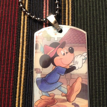 Disney's Mickey Mouse as the Pied Piper Dog Tag Necklace