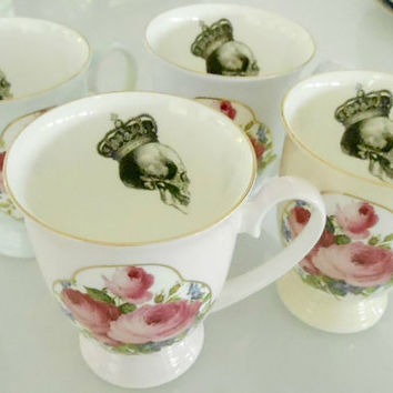 4-piece Floral Skull Tea Cup/Mug Set