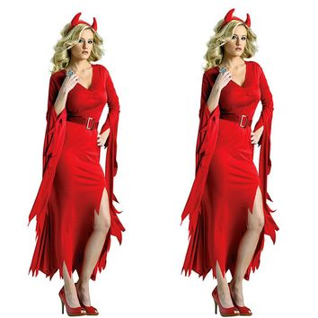 New Listing Vampire cosplay costume demon evil witch costume Red Devil Costume role play Adult women Witch Halloween Fancy Dress