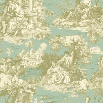 Robin Egg Blue Cream Enchanted Garden Country French Toile - Courting Lovers, Victorian, People - Wallpaper By The Yard - CH181631 so