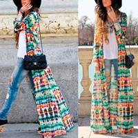 WOMEN'S Fashion Womens Vintage Chiffon Long Sleeve Boho Gypsy Hippie Maxi Cardigan Shirt Dress = 4904958148