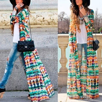 WOMEN'S Fashion Womens Vintage Chiffon Long Sleeve Boho Gypsy Hippie Maxi Cardigan Shirt Dress = 5657671233
