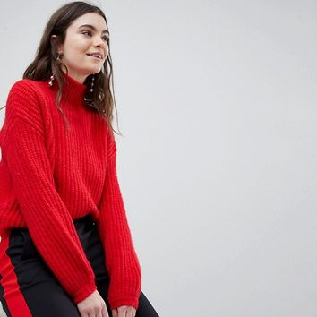 New Look Slouchy High Neck Sweater at asos.com