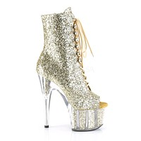 """Adore 1021G Gold Glitter Open Toe Lace Up Ankle Boot - 7"""" High Heels"""