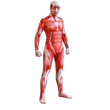 Cool Attack on Titan  Colossal  Cosplay Costumes Adult Lycra Spandex Full Zentai Bodysuits Men Muscle Suit Second Skin Tight Suit AT_90_11