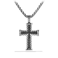 "Chevron Cross Necklace, Black Diamond, 22"" - David Yurman"