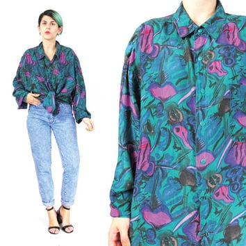Vintage 80s Mens Silk Shirt Abstract Silk Blouse Abstract Print Silk Shirt Long Sleeve Button Down Shirt Unisex Colorful Silk Shirt (L/XL)