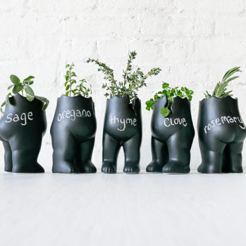 "SET OF 5 - Tushiez Vase for Greens - Size 5"" - Black Ceramic or White Porcelain - Matte Glossy -Plant Herb Containers- Plants not Included"