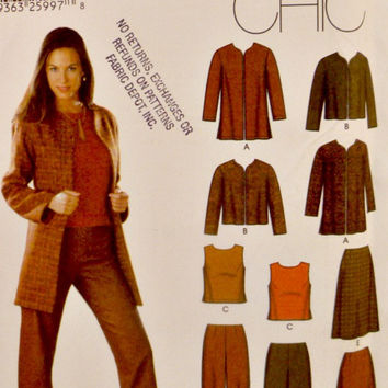 Simplicity 5921 Sewing Pattern Misses Collarless Jackets in Two Lengths Tops Pants A Line Skirts Separates Patterns Uncut Size 12 14 16 18