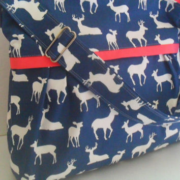 Diaper Bag - Navy Blue Deer - Coral - Adjustable Strap - Deer Diaper Bag - Messenger Bag - Bags and Purses -  Stroller Straps - Monogramming