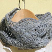 Dusty blue lace cowl - Crochet Neck warmers - Luxury wool - heather light blue