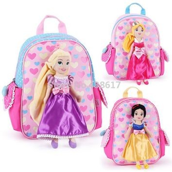 Cute Rapunzel Snow White Aurora Princess Plush Doll Bag Kindergarten Preschool Backpacks Schoolbag School Bags for Girls Kids