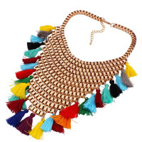 Multicolor Tassel Detail Statement Bib Necklace