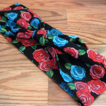Floral and Black, Hair Band, Rockabilly Bandana, Bandana Print, Knotted Bandana, BOHO Hairband, Women and Teens, Floral Headband #500