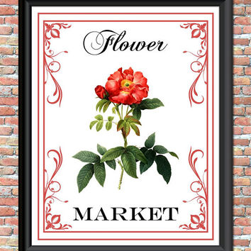 Flower Market Art Print Roses Pink Red Nature Botanical Printable Sign Digital Download Home Office Decor