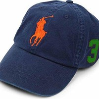 Mens Polo Ralph Lauren Big Pony Cap (aviator Navy/orange/green)