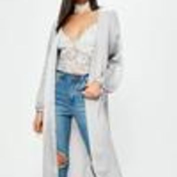 Missguided - Grey Satin Ruched Tie Cuff Duster Jacket