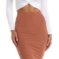 Tan Ribbed Bodycon Pencil Skirt by Charlotte Russe