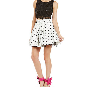 Jodi Kristopher Polka Dot Two-Piece Party Dress | Dillards
