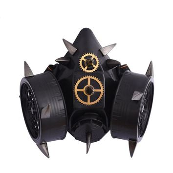 Steampunk Black Devil Horns Spikes Mask Respirator Cyber Goth Cosplay Rivets Masks Party Halloween Accessories Punk