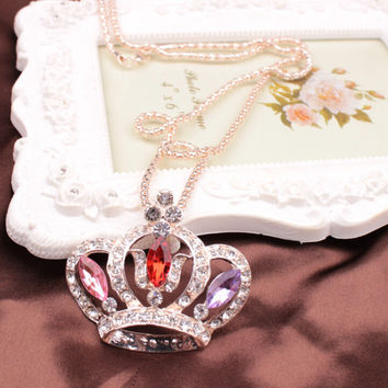 New Arrival Stylish Shiny Jewelry Gift Winter Korean Fashion Crown Pendant Sweater Chain Necklace [6046551873]