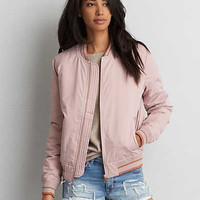 AEO Tipped Bomber Jacket, Blush