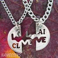 Personalized Necklace, Initials Love Jewelry, Interlocking set for couples, hand cut coin