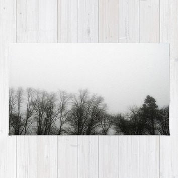 Fog, Mist, Misty, Trees, Eerie, B&W, Morning - Decorative Throw Rug, 3 Sizes Available - Kitchen, New Home, Bathroom - Made To Order-MMF#85