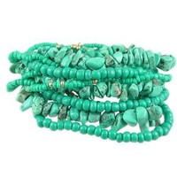 Heirloom Finds Turquoise Colored Bead 12 Bracelet Stack Stretch to Fit