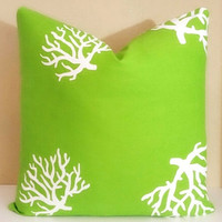 Euro Coral Chartreuse Coral Pillow Cover 24 x 24