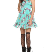 Royal Bones By Tripp Floral Skull Chiffon Dress