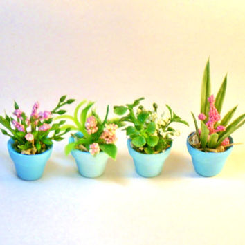 Set of Four Miniature Plants Fairy Garden Dollhouse Flowers in Turquoise Clay Pots