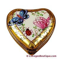 HEART-BUTTERFLY ON GOLD BASE LIMOGES BOX