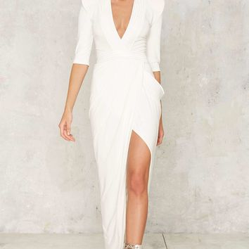 Zhivago Eye of Horus Slit Dress - White
