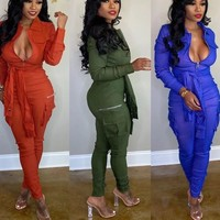 Women Fashion Solid Color Belted Side Pocket Jumpsuit